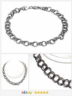50% OFF #EBAY http://stores.ebay.com/JEWELRY-AND-GIFTS-BY-ALICE-AND-ANN  14K White Gold Double Rolo Link Bracelet 8 inches Mother's Day
