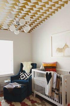 wallpaper ceiling | 20 Modern Nurseries - Style Me Pretty Living