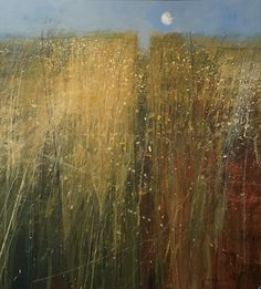 """huariqueje: """" Moon over the Corn ( Daily painting ) - Paul Fowler British, Mixed media """" Abstract Landscape Painting, Seascape Paintings, Watercolor Landscape, Landscape Art, Landscape Paintings, Watercolor Paintings, Abstract Art, Art Abstrait, Art Techniques"""
