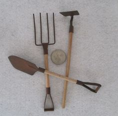 Garden Tools, Miniature, Vintage, Zen Garden, Fairy Faerie Gardening, Craft  Supply