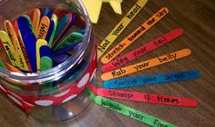 """ZAP game / basic rules: draw a popsicle stick, do something based on what it says, if you get the ZAP stick they all go back in the jar. could be played a million different ways. this teacher uses it as a """"brain break"""" with movements. many use to reinforce vocab (give definition, use in a sentence, etc). would be great for english or french!"""