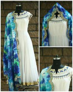 Anarkali Frock, White Anarkali, Anarkali Suits, Punjabi Suits, Pakistani Dresses, Indian Dresses, Indian Outfits, Indian Attire, Indian Wear