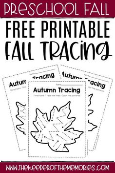These free printable Fall tracing worksheets are an excellent way to practice pencil grip and pre-writing skills with preschool learners. Download yours today! #fall #preschool #preschoolworksheets #finemotor #prewriting Preschool Writing, Fall Preschool, Preschool Themes, Preschool Printables, Preschool Kindergarten, Preschool Worksheets, Tracing Worksheets, Printable Worksheets, Free Printable