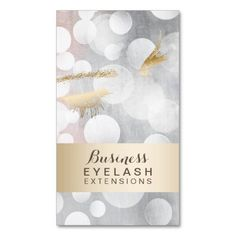 Modern Silver & Gold Eyelash Extensions Double-Sided Standard Business Cards (Pack Of 100)
