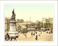 Street scene and monument in the Place Clichy, Paris, France; between ca. 1890 and ca. 1900. 1159 written in pencil on the back of the print. Nineteenth century travel views of Europe. photochrom color. Library of Congress Prints and Photographs Division, Washington D.C.