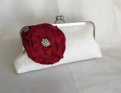 LARGE ROSE  Bridesmaid Bridal clutch ivory by franklymydearvintage
