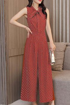 Buy Chicloth Sleeveless Casual Polka Dots Printed Chiffon Jumpsuit,Cheap Womens Casual Pants,Cheap Jumpsuits and Rompers. Look Fashion, Fashion Pants, Hijab Fashion, Fashion Dresses, Designer Jumpsuits, Print Chiffon, Classy Dress, Stylish Dresses, Jumpsuits For Women