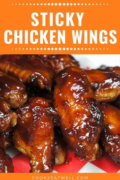 These sticky chicken wings are absolutely delicious. In this recipe chicken wings are baked until theyre fall off the bone then they are coated with a sweet and tangy barbecue sauce. Sticky Wings Recipe, Sticky Chicken Wings, Crockpot Chicken Wings Bbq, Crockpot Wings Recipe, Crock Pot Wings, Barbecue Chicken, Chicken Wing Sauces, Baked Chicken Recipes, Recipe Chicken