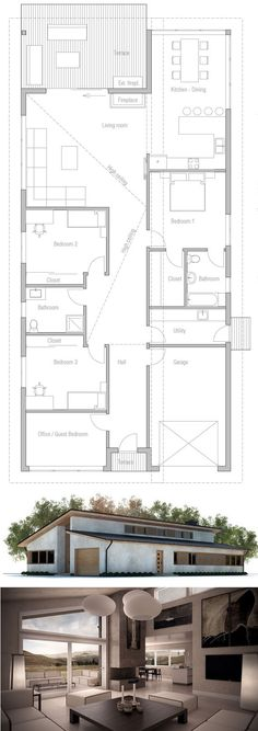 Modern Narrow House Plans - Modern Narrow House Plans , PHP is A Two Story House Plan with 3 Bedrooms 2 Narrow House Plans, Two Story House Plans, Dream House Plans, Modern House Plans, House Floor Plans, Modular Home Plans, Three Bedroom House Plan, Courtyard House Plans, Sims House