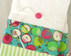 Kitchen towels with apple pattern in green, pink and teal cotton fabric accent - set of two flour sack towels