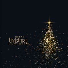 Beautiful christmas shiny tree made with golden particles Free Vector Merry Christmas Images, Merry Christmas Greetings, Merry Christmas And Happy New Year, Christmas Greeting Cards, Christmas Wishes, Christmas Holidays, Vector Christmas, Free Poster, Christmas Party Poster