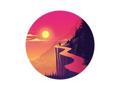 Mountain way illustration