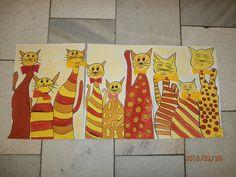 ZŠ Drnovice Psi, Fall Art Projects, Autumn Art, Art Activities, Cat Art, Art For Kids, Kindergarten, Cats, Painting Art