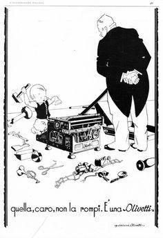 """Inserzione pubblicitaria per la macchina per scrivere M20, pubblicata nel 1930 sulla rivista """"L'Illustrazione Italiana"""" a cura dell'Ufficio Pubblicità Olivetti."""
