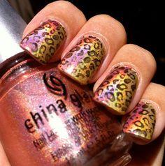 Glam Polish: Friday Challenge: Animal Print Nails! Beautiful Shimmery Gold  Pink Animal Print!