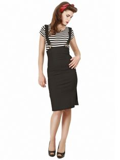 Collectif Clothing - Heidi Buckle Braces Skirt