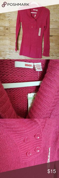 BONGO long sweater Pink BONGO brand sweater. NWT. Would look very cute with jeans or leggings. BONGO Sweaters Crew & Scoop Necks