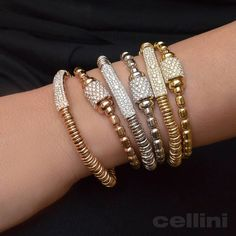 Getting ready to stretch out and relax this weekend... #tgif #gold and #diamond #elastic #bracelets now on www.CelliniJewelers.com