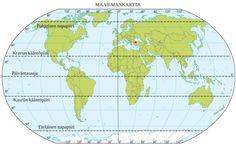 Maailmankartta- Pituus- ja leveyspiirit muodostavat kartalle verkon Map, Education, Google, Peda, Location Map, Maps, Onderwijs, Learning