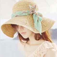 Envío gratis al por menor encantadores grandes Brim Sombreros para Mujeres  bowknot cinta Patchwork Floppy verano 45a68b4628e1