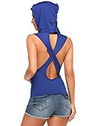 New Hotouch Women Sleeveless Hoodie Back Hole T-Shirt With Pocket Tank Top Tee online. Find the perfect Hotouch Tops-Tees from top store. Sku OGXO59133KQKN90764