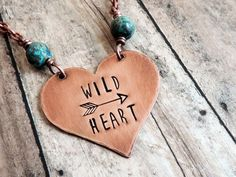 Wild Heart Boho Necklace with Stamped Words on by ATwistOfWhimsy