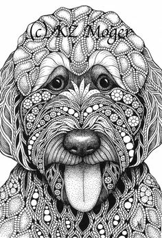 Whimsical pen and ink original drawings, limited edition and open edition prints, books, and cards for gifts and collectors. Ink Pen Drawings, Zentangle Drawings, Zentangle Patterns, Doodle Drawings, Doodle Art, Zentangles, Dog Coloring Page, Animal Coloring Pages, Paw Print Art
