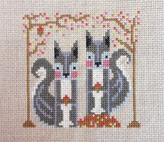 Secret Squirrels modern counted cross stitch pattern PDF download - includes chart and instructions