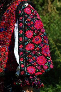 Popular Folk Embroidery The Romanian Blouse, waiting for spring flowers to bloom. A detail from a shirt of Tinutul Padurenilor in Batrina, Hunedoara. Hungarian Embroidery, Folk Embroidery, Learn Embroidery, Embroidery Patterns, Folk Costume, Costumes, Folk Clothing, Embroidery Techniques, Look Fashion