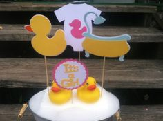 Girl rubber duck baby shower centerpiece