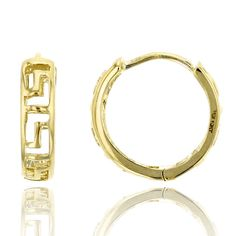 10K Yellow Gold High Polished 3.00x11.00mm Greek Key Huggie Earring. 10K SOLID GOLD: This product is made of solid 10K gold and each piece is carefully trademarked with the metal purity for certification. Each piece is stamped 10K or 417 and that guarantees the quality and craft. DESIGN & FINISH: We understand gold and we really understand the manufacturing process of precious metal. Each piece is carefully designed from scratch by our design department and we present to you our finished...