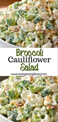 Deliciously Sweet Broccoli Cauliflower Salad is the perfect sweet and savory dish for potlucks, family gatherings, holidays, and cookouts. Bacon adds the perfect salty bite. for parties Deliciously Sweet Broccoli Cauliflower Salad - Easy Peasy Pleasy Potluck Dishes, Veggie Dishes, Savoury Dishes, Vegetable Recipes, Potluck Salad, Vegetable Salads, Cookout Side Dishes, Fruit Dishes, Broccoli Salad Recipes