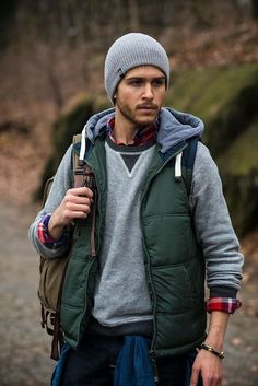Men's Dark Green Quilted Gilet, Grey Crew-neck Sweater, Red and Navy Plaid Long Sleeve Shirt, Blue Denim Shirt Rugged Style, Style Men, Rugged Men, Men's Style, Camping Outfits, Mode Masculine, Mens Outdoor Fashion, Mens Fashion, Fashion Menswear
