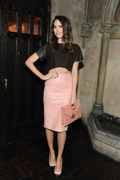 Louise Roe, pink leather