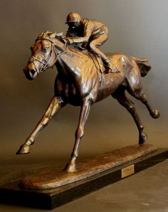 Bronze Horses Small, for Indoors and Inside Display Statues statuettes Sculptures figurines commissions commemoratives #sculpture by #sculptor Gill Parker titled: 'Frankel' #art