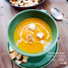 pumpkin soup with coconut cream. Craving > 5 Seasonal Spins on Pumpkin Soup - foodiecrush