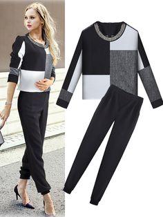 S-XL 2Pcs Beads O-Neck Color Block Top Elastic Pants