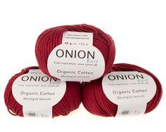Vinrød økologisk bomuldsgarn fra Onion - 35 kr. per 50 gram