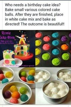 Take colored cake pops and put them in white cake batter to create amazing cakes! Place cooked cake pops in the baking pan, cover with white cake batter filling the pan a little over half full. bake as directed on white cake mix box. Spotty Dotty Cake, Surprise Inside Cake, Polka Dot Cakes, Polka Dots, Blue Dots, White Cake Mixes, Festa Party, Colorful Cakes, Cake Tutorial