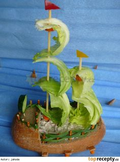 Pirate Ship Watermelon, Creative Food, Carving, Stuffed Peppers, Vegetables, Fruit, Wood Carvings, Stuffed Pepper, Sculptures