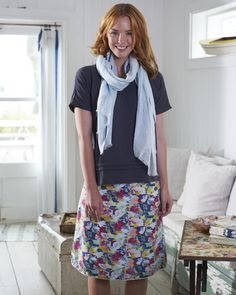 The model is wearing our Textured Clover Skirt, Lovely In Linen Scarf and Jaipur Jane Blouse in Asphalt.