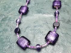 Purple Beaded Necklace by DotNiks on Etsy, $23.00