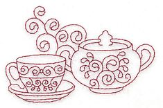 Teacup and sugar bowl redwork 3.85w X 2.49h