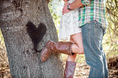 Love this, what about the initials carved in the heart on the tree behind them? And Save the Date(: