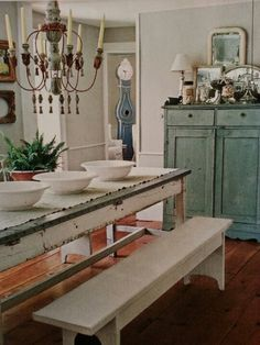 Shabby whites & blues/ paint existing cabinet bluish-green
