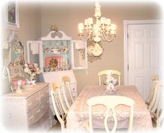 Dining Room Shabby Chic Dining Room Grey Simple Painted Concrete Wall Plaid Laminate Wooden Floor Classic Frame Wall Art White Wooden Cabinet Rectangle Rustic Wood Dining Table Ladder Back Cream Wooden Dining Chair Romantic Dining Room Design Ideas For Small Space