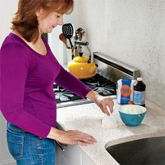Cleaning Tip: Use flour to clean stained stone countertops