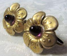 Antique Art Deco Sterling Silver Amethyst Glass Screw Back Flower Earrings Sgd | Jewelry & Watches, Vintage & Antique Jewelry, Fine | eBay!