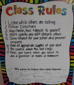 general classroom rules. Stuents's signs are impressive