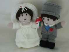 Bride and Groom Knitted Dolls Ideal by Meganknits4charity on Etsy, £15.00